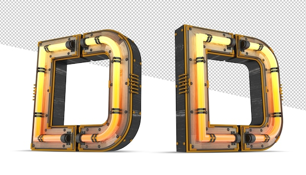 ネオンの光の効果を持つ3 d木製アルファベット Premium Psd