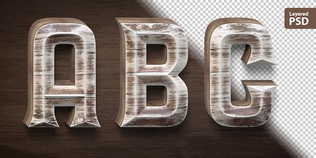 3d деревянный набор шрифтов. письма abc Premium Psd