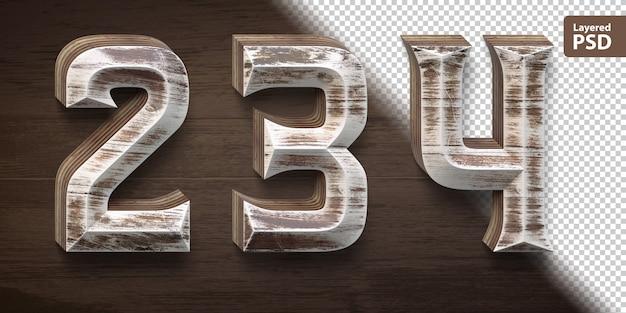 3d wooden font set. numbers 2 3 4. Premium Psd