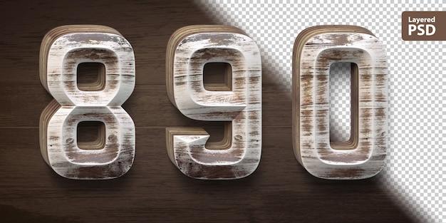 3d wooden font set. numbers 8 9 0. Premium Psd