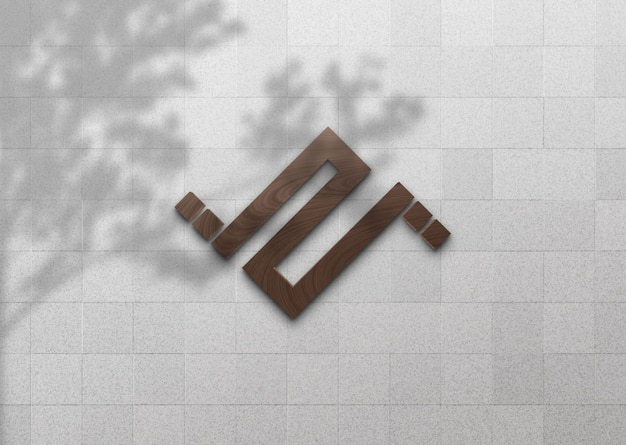 나무 그림자와 흰 벽에 3d 나무 로고 이랑 프리미엄 PSD 파일