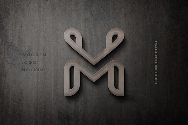 3 dの木製看板ロゴモックアップ Premium Psd