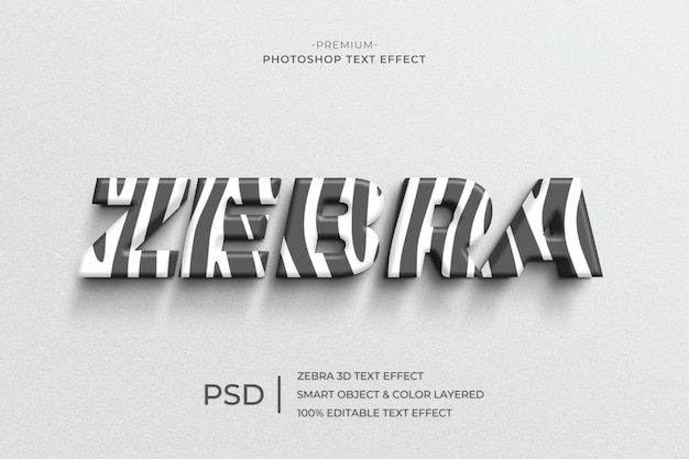 3d zebra text style effect template Premium Psd