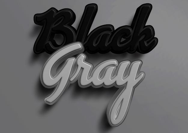 3d макет черно-серый текстовый эффект Premium Psd