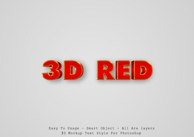 3d-эффект красного текста Premium Psd