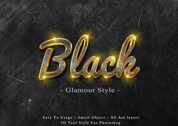 3d черный гламурный стиль текста эффект Premium Psd