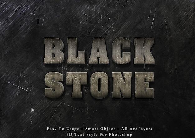 3d черный камень стиль текста эффект Premium Psd