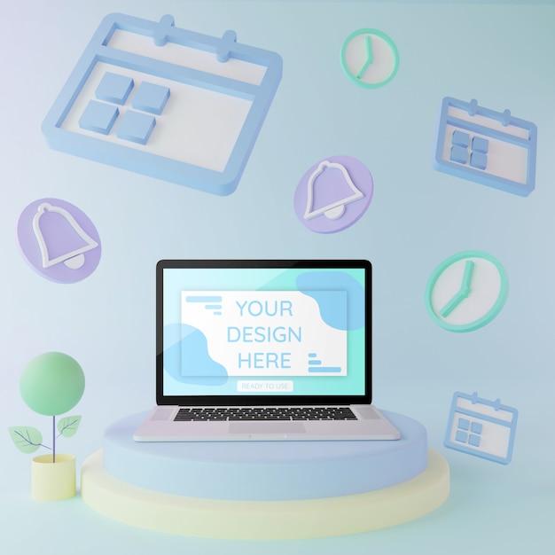 Макет ноутбука на подиуме с элементами сценария 3d иллюстрации пастельные цвета Premium Psd