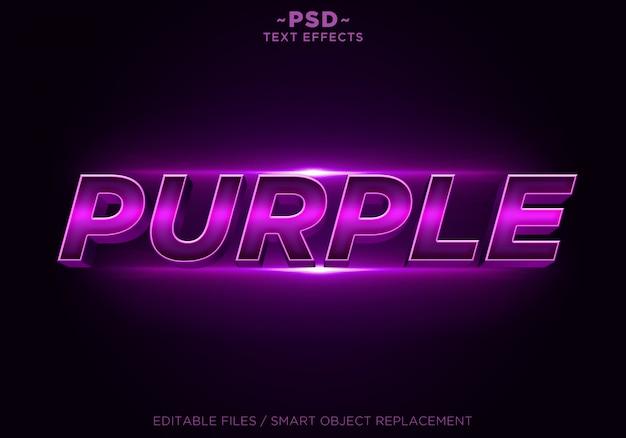 3dパープルエフェクトの編集可能なテキスト Premium Psd