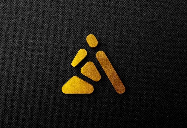 暗い壁の3dゴールドロゴモックアップ Premium Psd