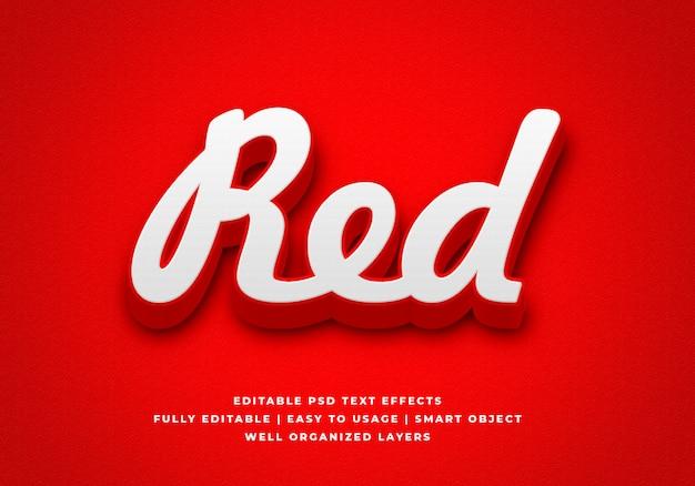 Красный 3d текстовый стиль эффект макет Premium Psd