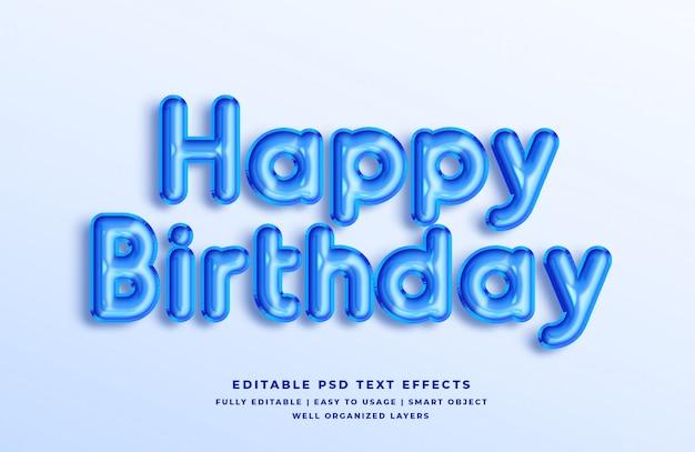 С днем рождения синий 3d эффект стиля текста Premium Psd