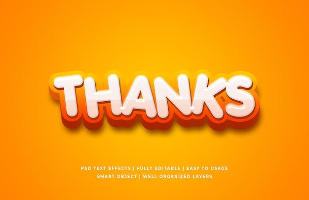 Спасибо мультфильм 3d стиль текста эффект Premium Psd