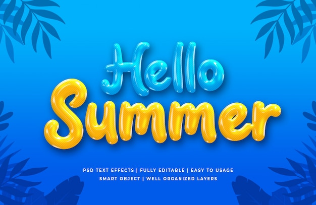 Привет лето 3d эффект стиля текста Premium Psd