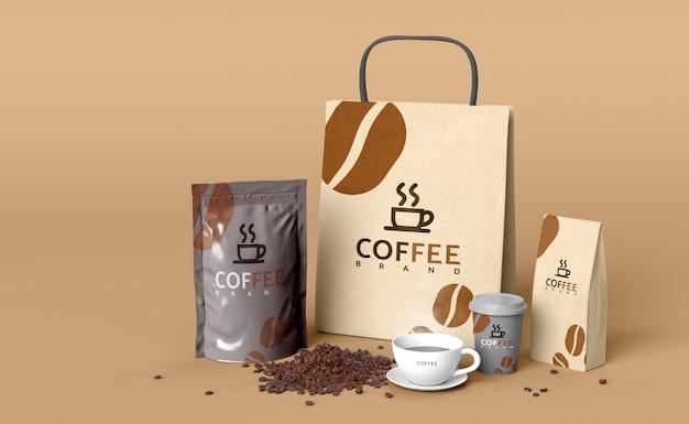 製品設計のためのモックアップ3dレンダリングモデルのコーヒーセット。 Premium Psd