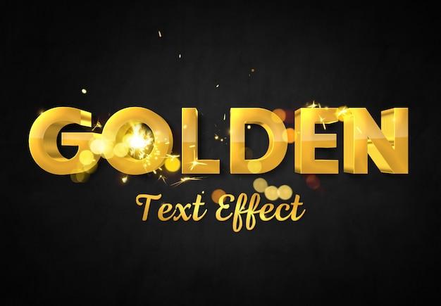 スパークモックアップを使用した3dゴールドテキスト効果 Premium Psd