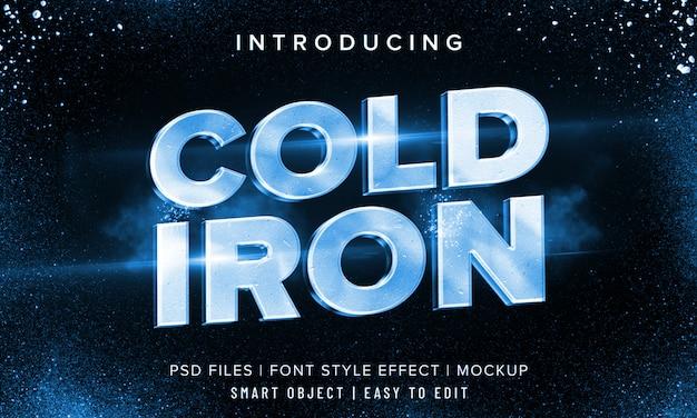 3dコールドアイアンフォントスタイル効果モックアップ Premium Psd