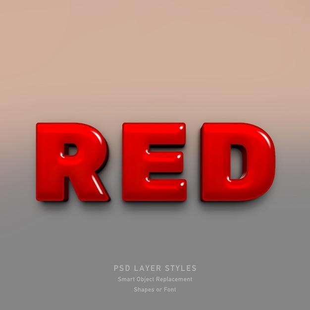 フォントの3d赤いテキストスタイル効果 Premium Psd