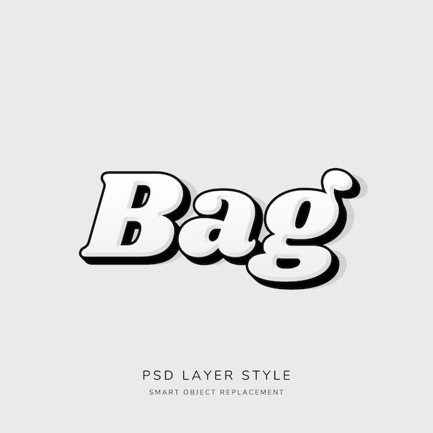3d белый текстовый стиль с контуром черный Premium Psd