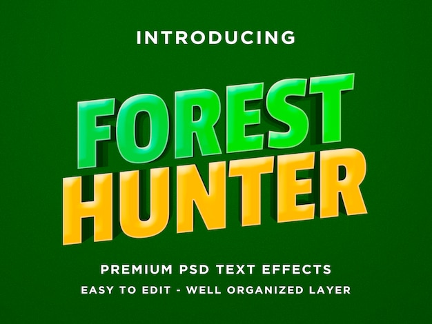 フォレストハンターゲームスタイルの3dテキスト効果 Premium Psd