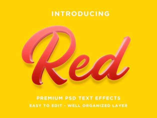 赤い3dテキスト効果テンプレート Premium Psd