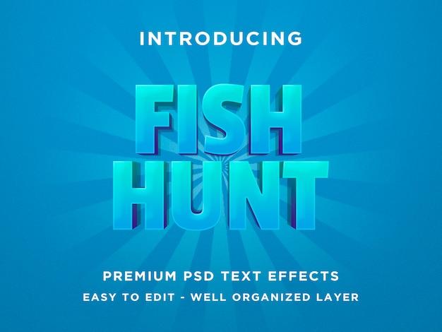 フィッシュハント-3dテキスト効果 Premium Psd