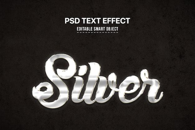 Серебро 3d эффект стиля текста Premium Psd