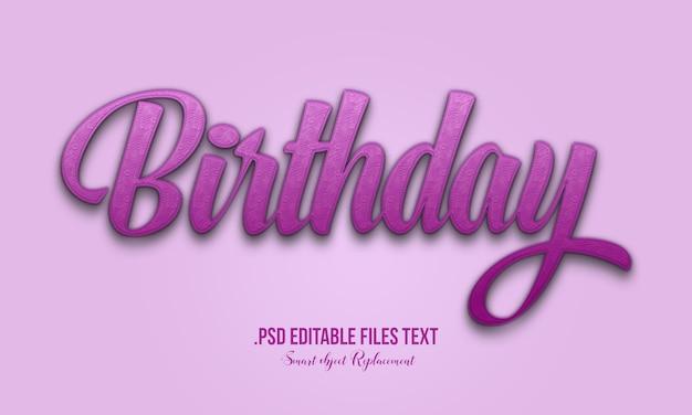 День рождения 3d-стиль текста эффект, рисованной надписи карты, современная каллиграфия, день рождения текстовый эффект, установите элегантный розовый фиолетовый абстрактный день рождения текстовый эффект Premium Psd