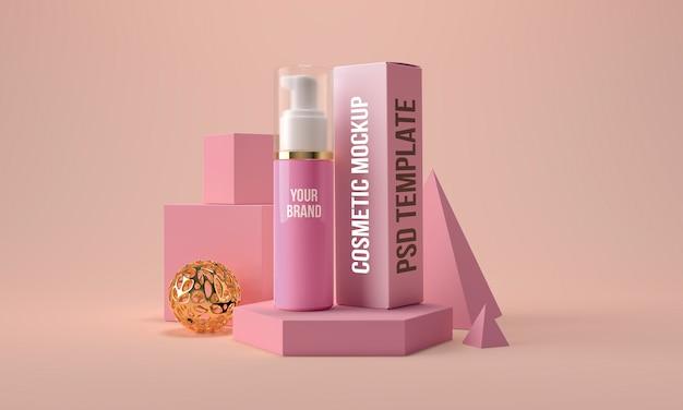 Косметическая бутылка с дозатором и коробкой макета. контейнер для продуктов по уходу за кожей красоты 3d визуализации Premium Psd