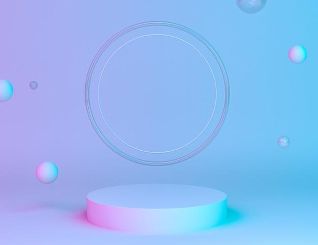 リングの背景と編集可能な色で製品を配置するためのホログラフィック3d幾何学的ステージ 無料 Psd
