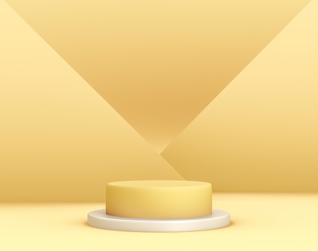 3dの幾何学的な黄色の表彰台で、背景と編集可能な色に交差した平面がある製品配置用 無料 Psd