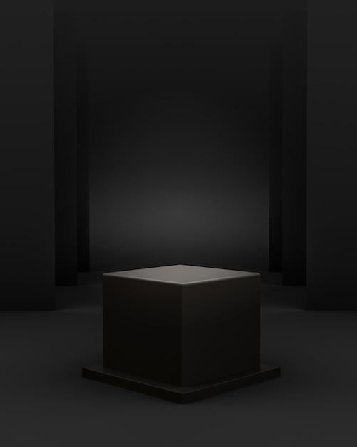 製品配置のための立方体の表彰台と編集可能なライトを備えた3d幾何学的な黒いシーン 無料 Psd