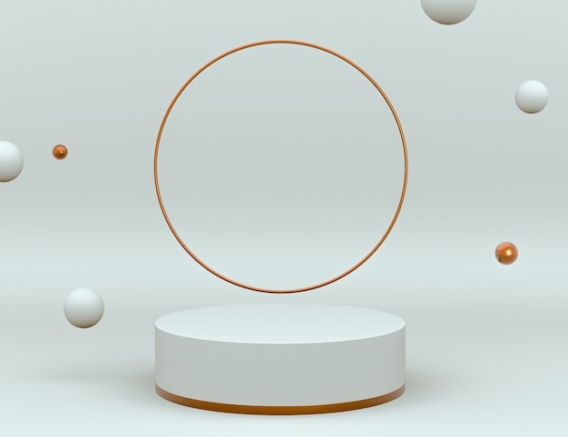3d элегантная белая и латунная сцена с подиумом для размещения продукта и редактирования цвета Бесплатные Psd