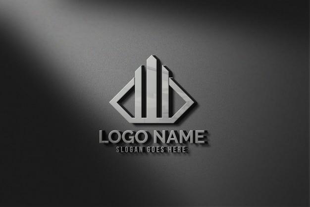 Современный 3d реалистичный настенный логотип макет Premium Psd
