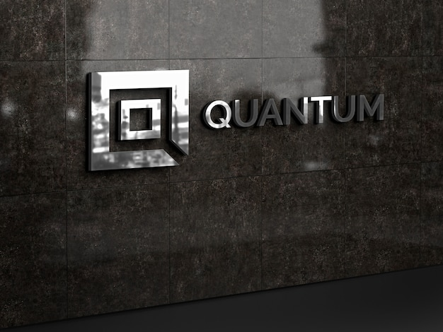 3d макет стены логотипа Premium Psd