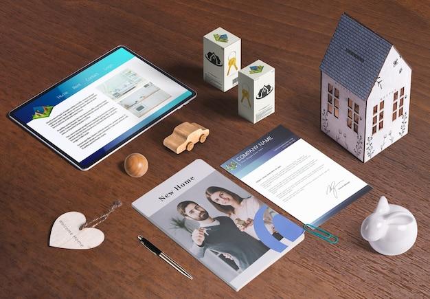 Элементы недвижимости, деловая корпоративная папка, 3d дом, отделка Бесплатные Psd