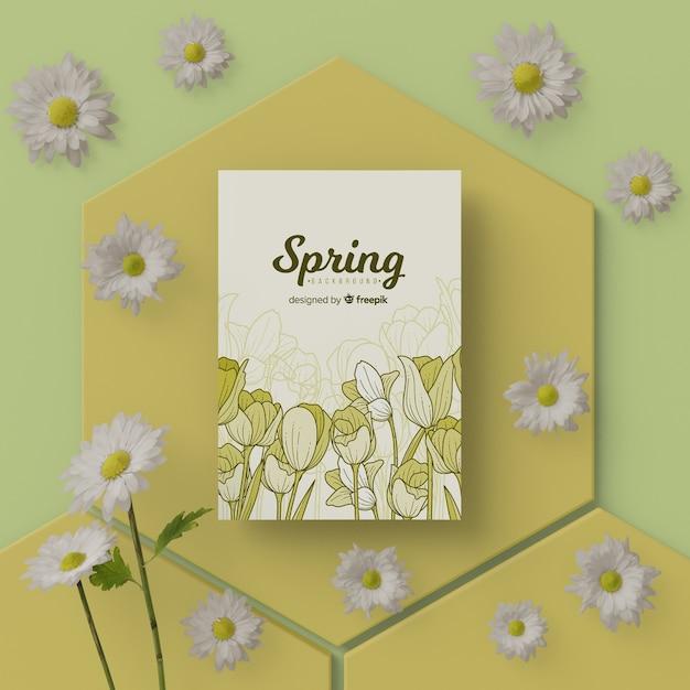 Весенняя открытка с 3d цветами Бесплатные Psd