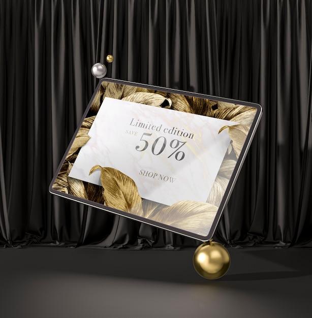 Цифровой планшет с золотыми листьями 3d макет Бесплатные Psd