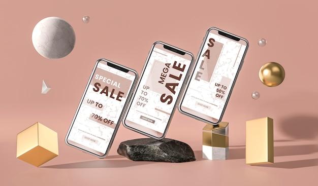 Различные мобильные телефоны 3d-макет и геометрические фигуры Бесплатные Psd