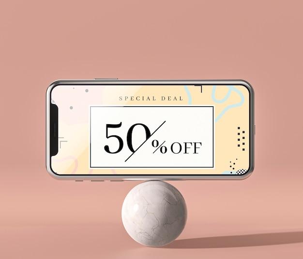 Мобильный телефон 3d макет стоя на белом шаре Бесплатные Psd