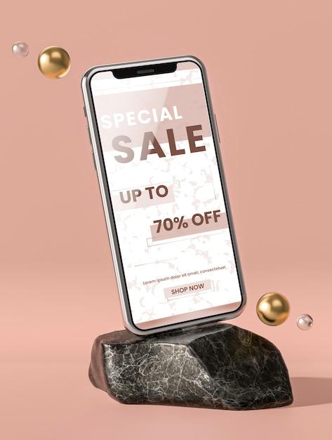 Мобильный телефон 3d макет на мраморном камне Бесплатные Psd