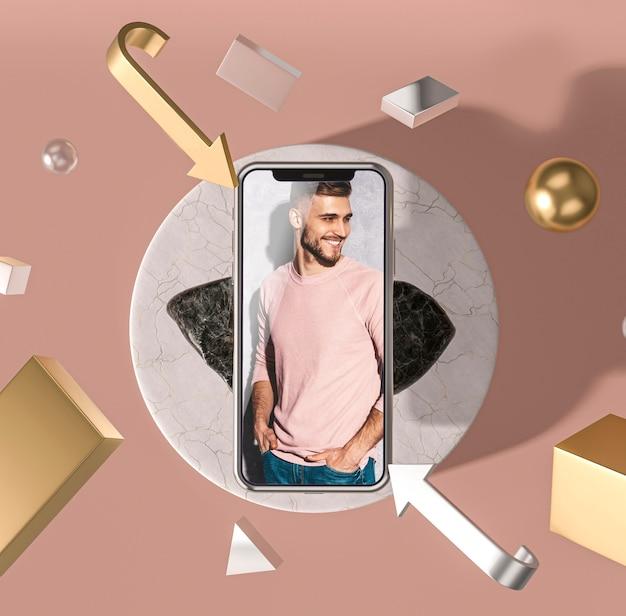 Мобильный телефон 3d макет с модным человеком Бесплатные Psd