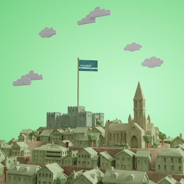 3d модель дня городов мира с макетом Бесплатные Psd