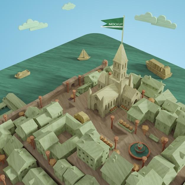 3d макет миниатюрной модели города Бесплатные Psd