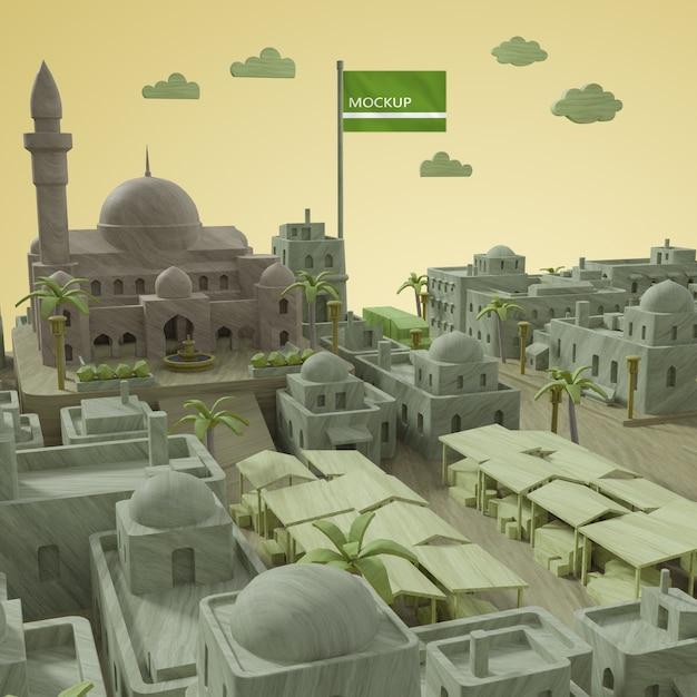 3d модель города день мира Бесплатные Psd