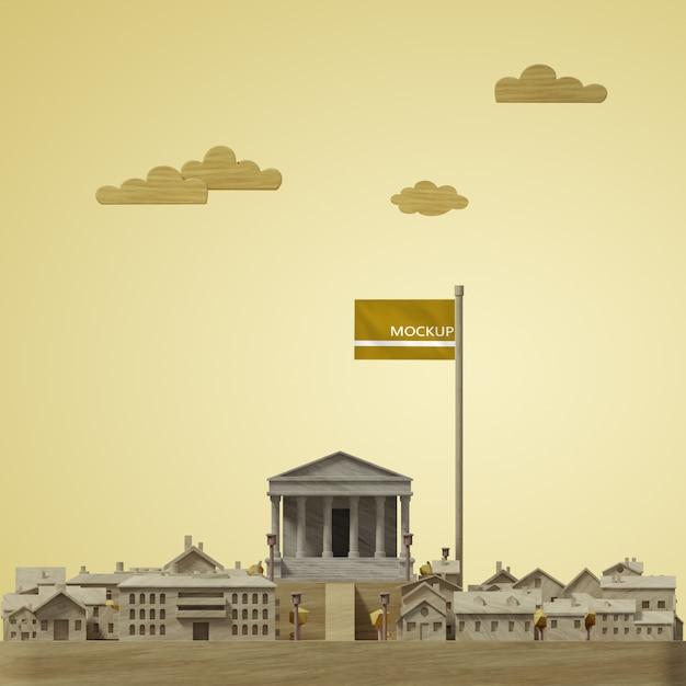 Концепция макета 3d модели мира в день города Бесплатные Psd
