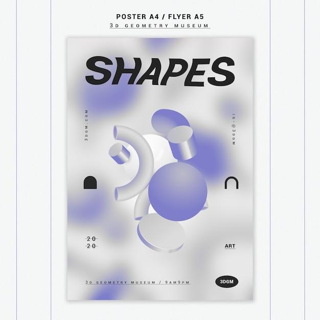3d постер с геометрическими фигурами Бесплатные Psd