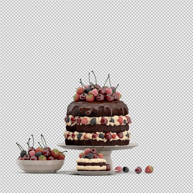 Торт 3d изолированных визуализации Premium Psd
