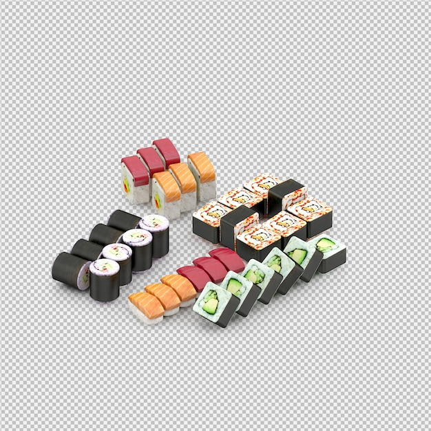 Суши 3d рендер Premium Psd