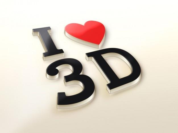 心臓の3dロゴ現実モックアップ 無料 Psd